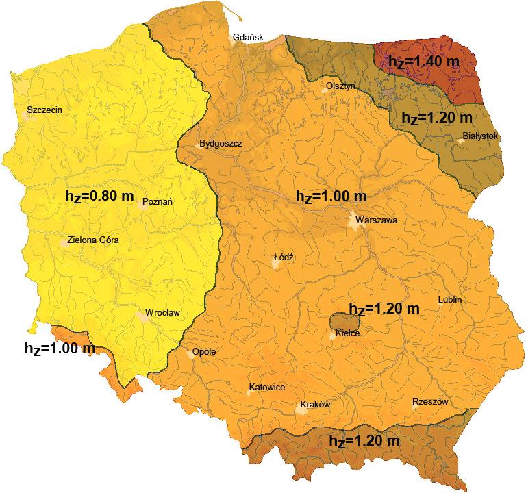 Orientacyjna mapa umownych stref przemarzania gruntu wg PN-81/B-03020